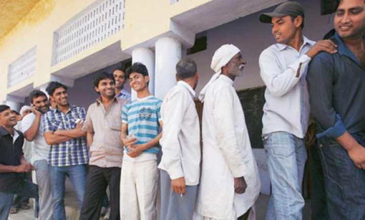 nearly 35 percent polling in haryana