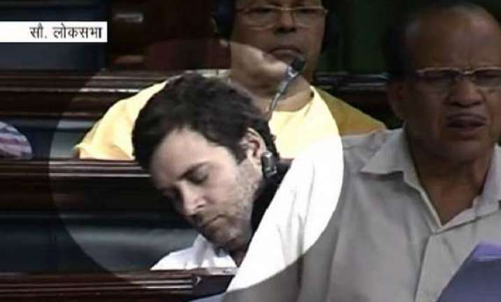 rahul gandhi caught sleeping in parliament during debate on