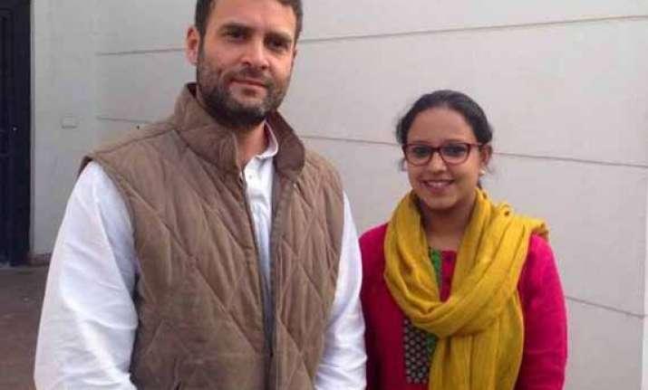 rahul gandhi promotes young face hasiba amin as nsui