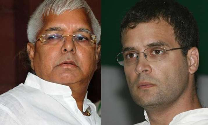 rahul gandhi reluctant to share election dais with lalu