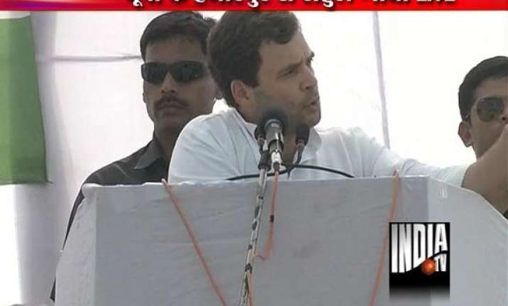 rahul lashes out at akhilesh govt in up in two rallies
