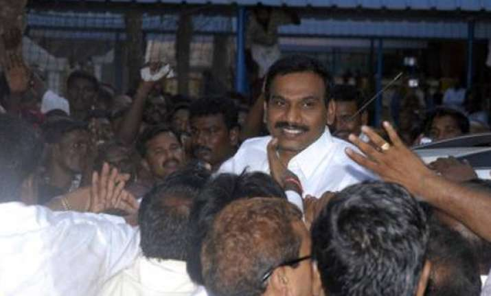 raja arrives to a rousing reception in chennai