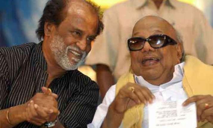 rajinikanth meets karunanidhi extends belated b day