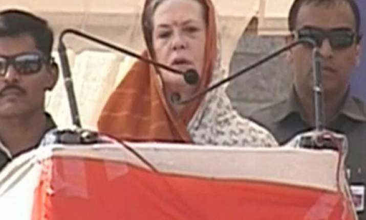 sonia gandhi lays foundation stone of aiims in rae bareli