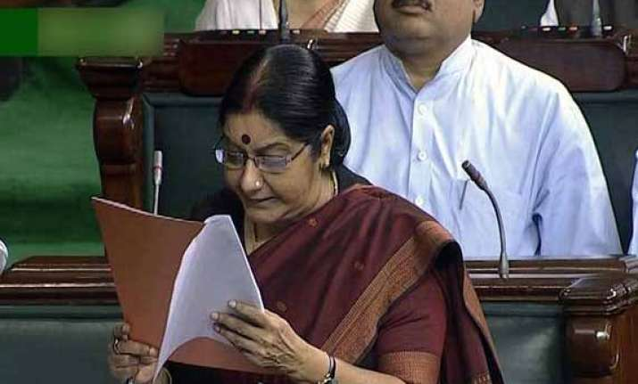 sushma calls for support for women s reservation bill