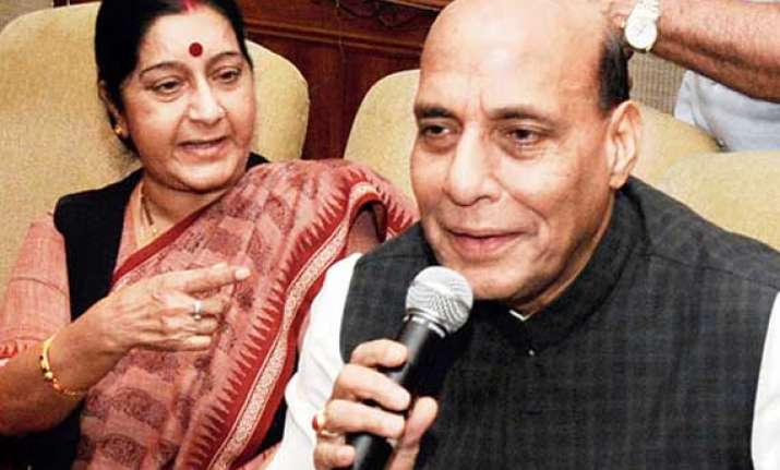 sushma denies being upset rajnath says party will decide