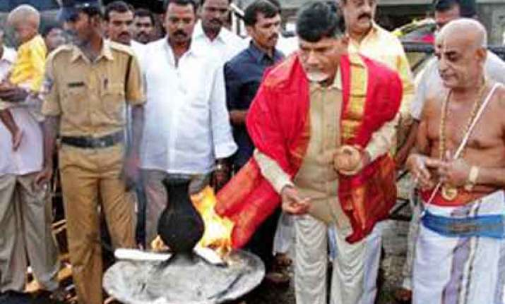 tdp chief offers prayers at shrine of lord venkateswara