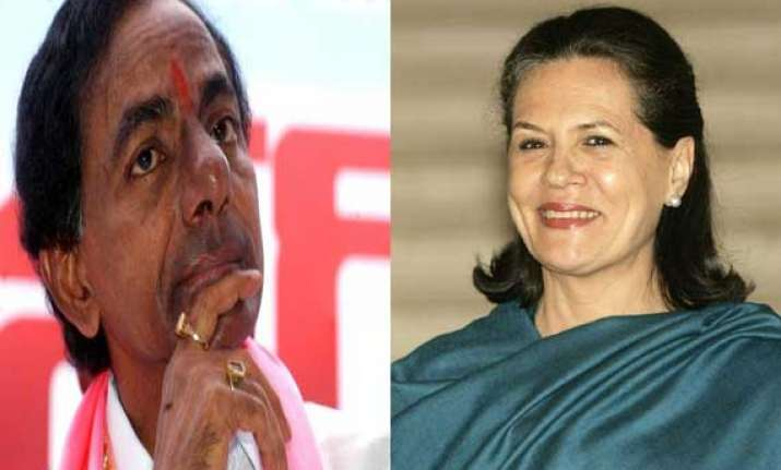 trs chief meets sonia to discuss merger asks for more
