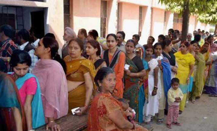 up polls peaceful polling going on in 11 ls constituencies