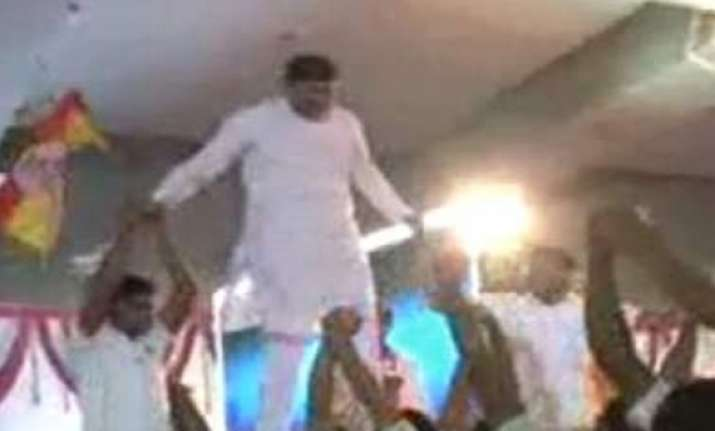 video shows bjp ls candidate walking on backs of students