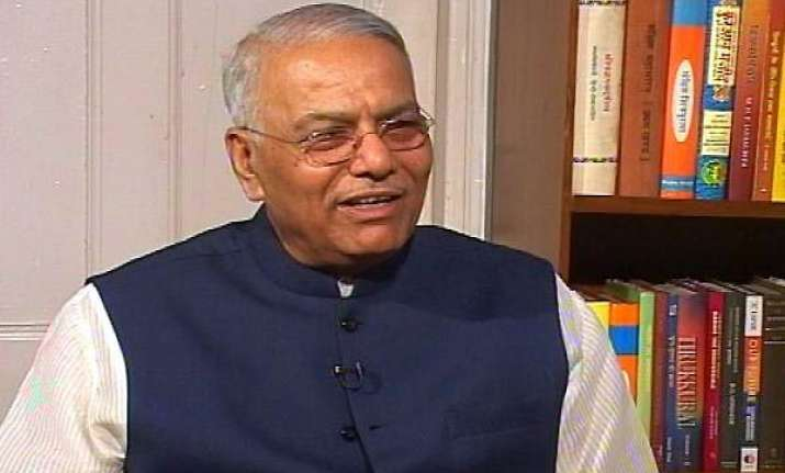 yashwant sinha continues sit in