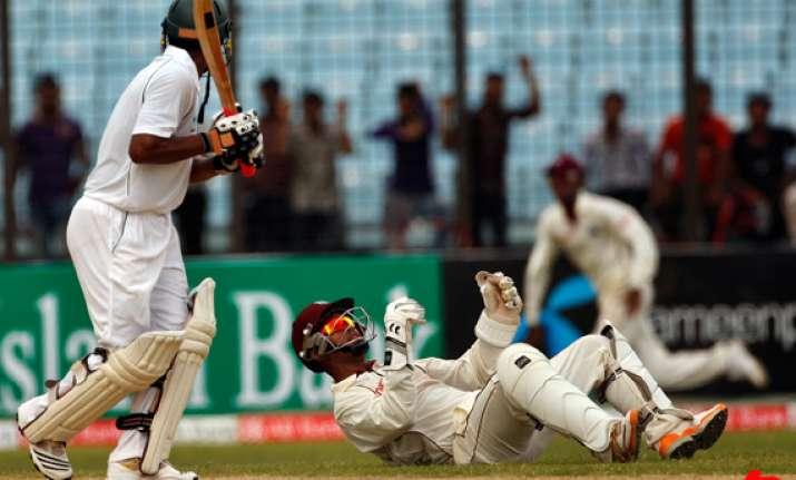 bangladesh west indies draw first test