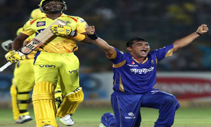 champions league rajasthan royals tame chennai to enter