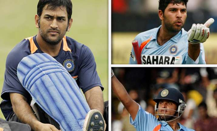 dhoni to opt between yuvraj and raina
