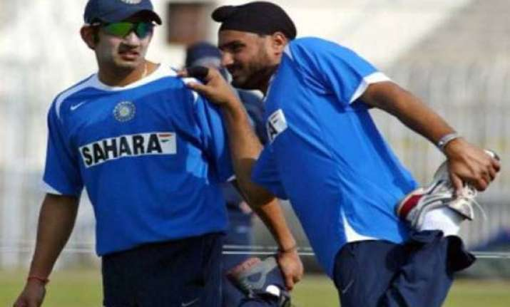 gambhir out harbhajan in for first two tests
