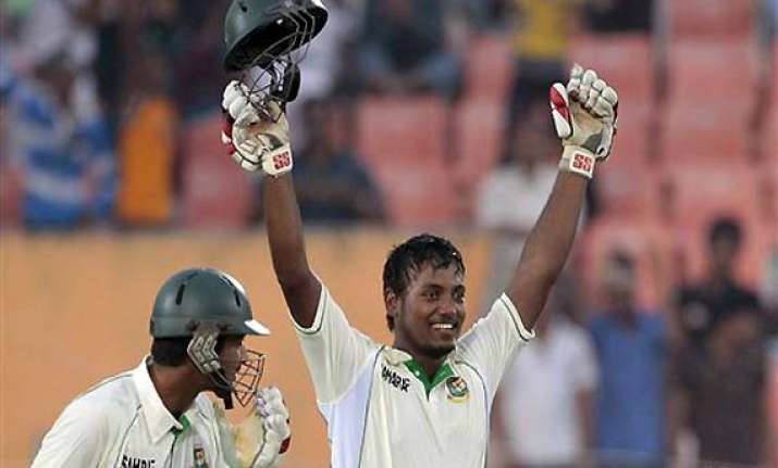hasan lifts bangladesh with debut hundred
