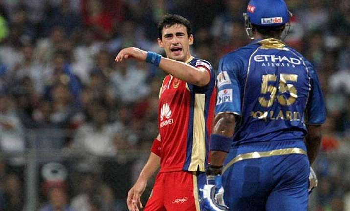 ipl 7 kieron pollard mitchell starc fined for on field spat