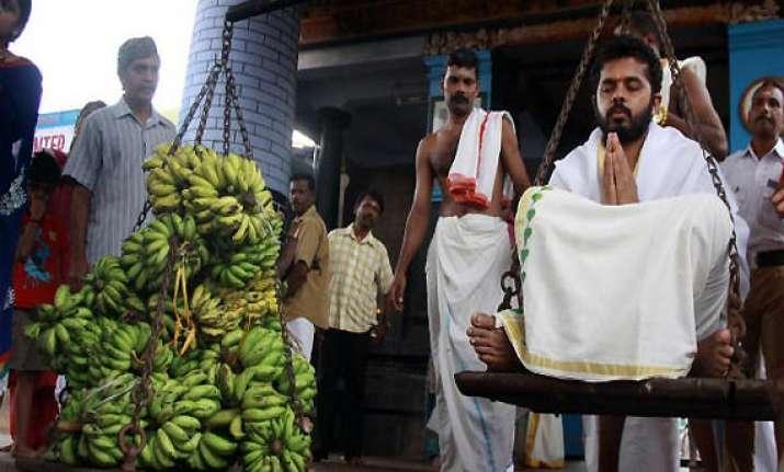 ipl spot fixing sreesanth offers prayers at sabarimala