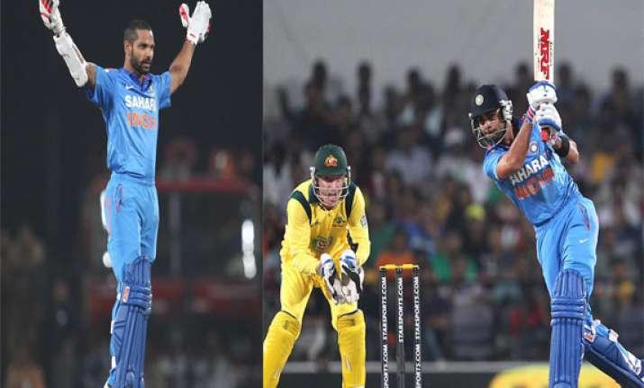 india australia kohli shikhar hit tons as india levels 2 2
