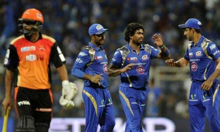 malinga mcclenaghan bowl mumbai to 20 run win over sunrisers
