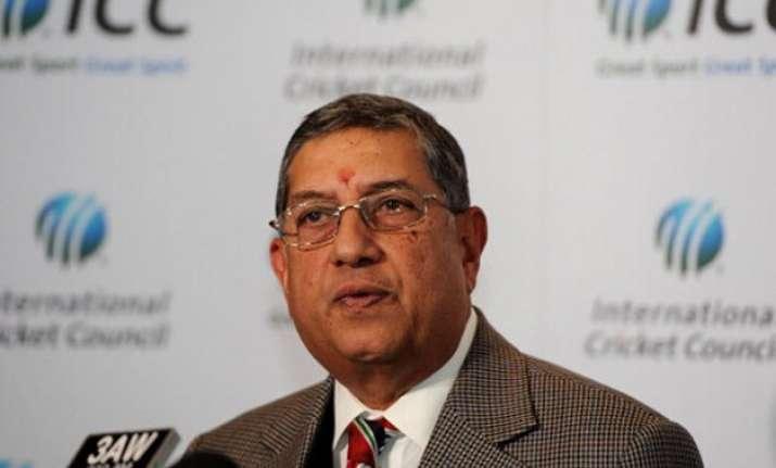 icc chairman n srinivasan arrives from us