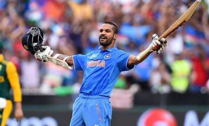 world cup 2015 dhawan century takes india to 307/7 vs south