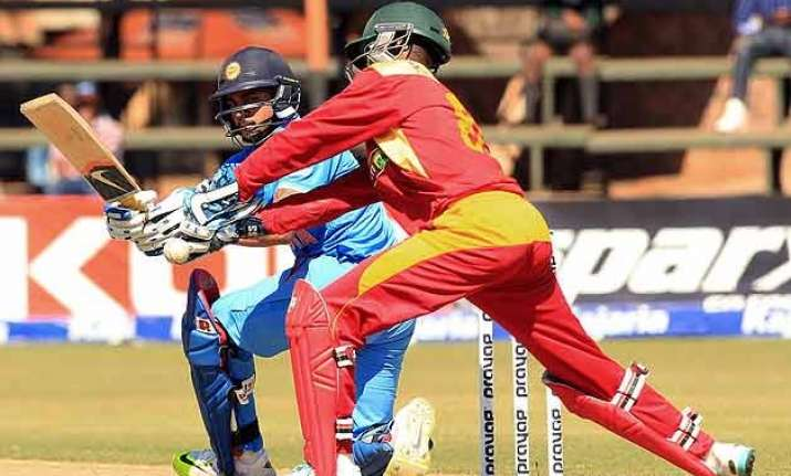 ind vs zim ton up jadhav pandey help india complete 3 0