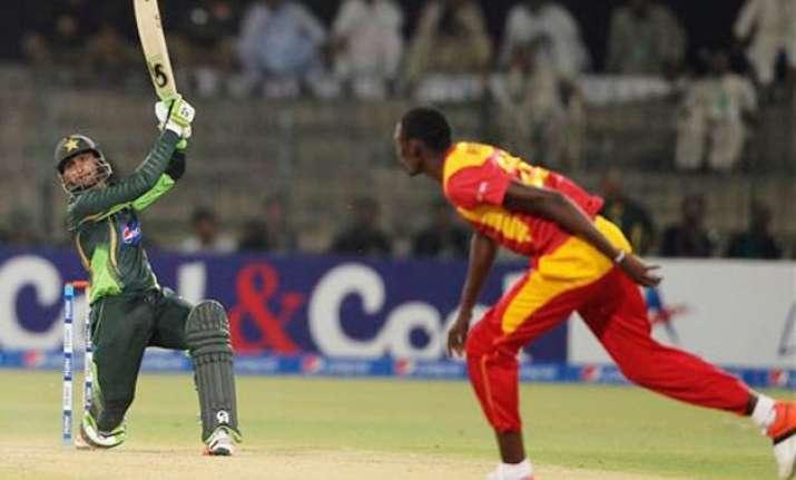 pak vs zim malik century helps pakistan to 375 3 in 1st odi