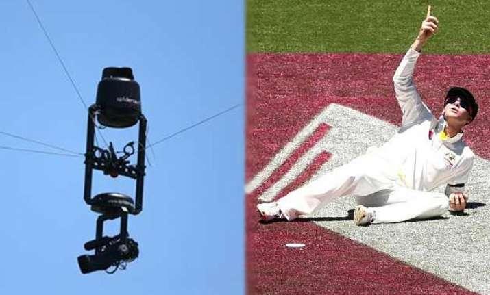 aerial tv camera causes concern in australia india 4th test
