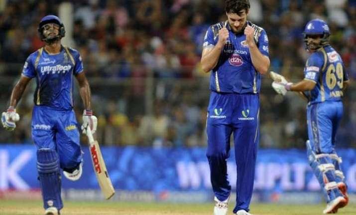 ipl 8 mumbai indians pull off 8 run victory over royals