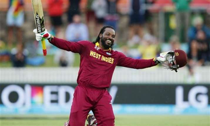 world cup 2015 gayle blasts his way to records lifts west