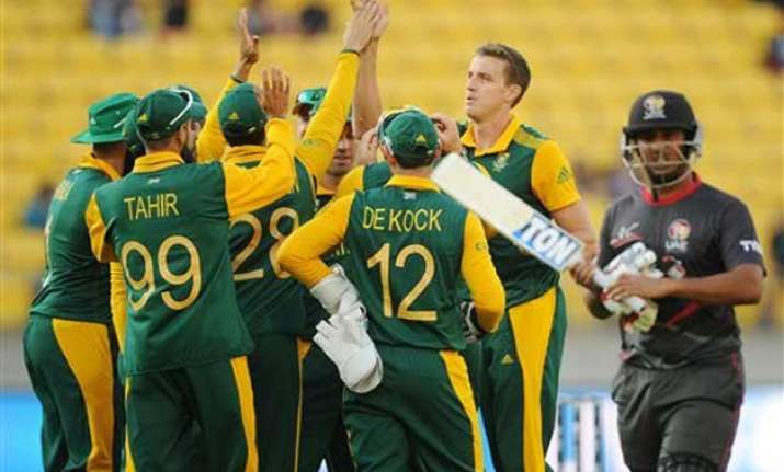 world cup 2015 south africa beats uae by 146 runs