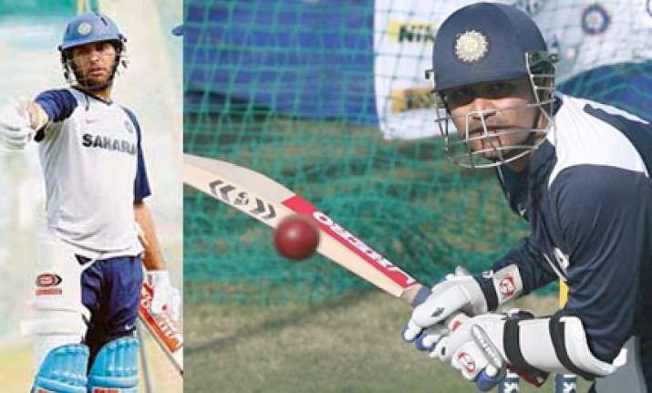 sehwag yuvraj take part in net practice