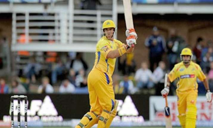 hayden s breezy 93 help csk beat daredevils by five wickets