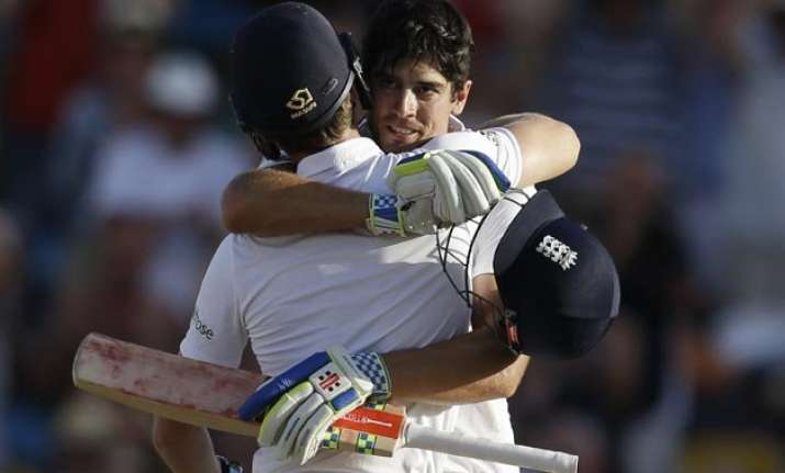 alastair cook century helps england reach 240 7 against