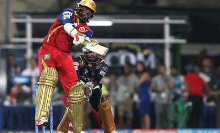 ipl 8 gayle force takes rcb home by 3 wickets against kkr