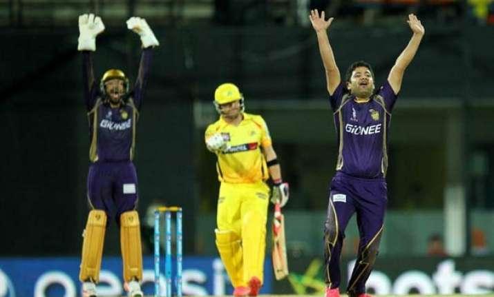ipl 8 kolkata bowlers restricts chennai to 134 6