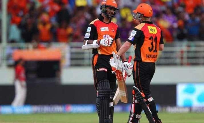 warner dhawan help sunrisers outplay kkr by 16 runs via d/l