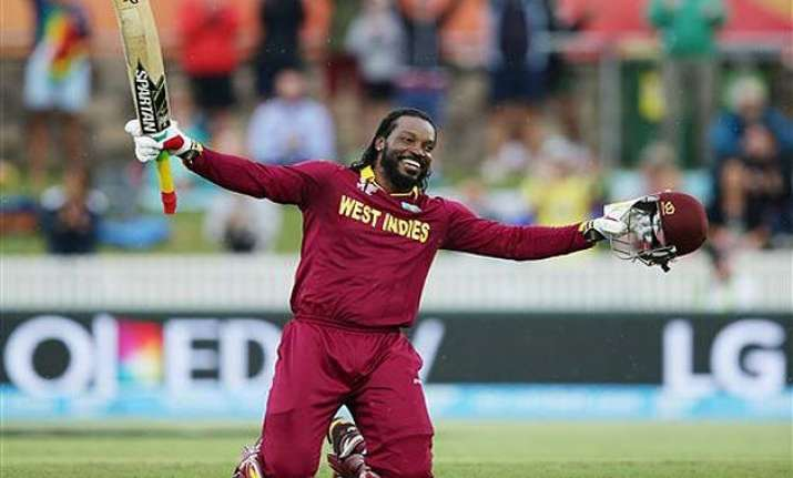 world cup 2015 gayle s record 215 lifts west indies to 73