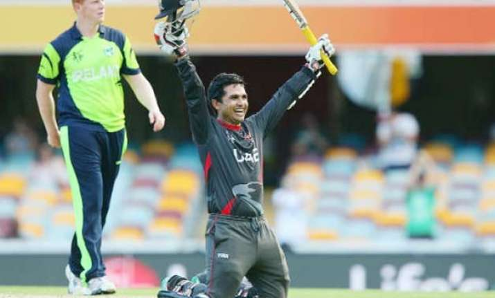 world cup 2015 shaiman anwar s century leads uae to 278 9