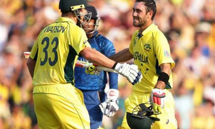 world cup 2015 maxwell ton guides australia to 376 vs sri