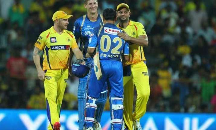 ipl 8 csk beat rajasthan to virtually seal its play off spot