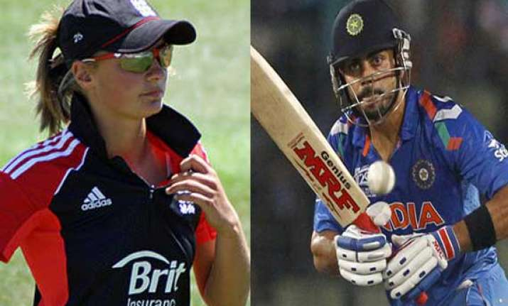 virat kohli hits english woman cricketer for a six