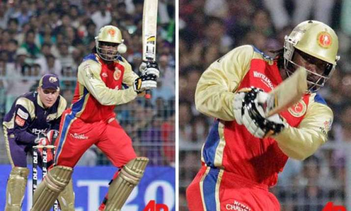gayle storm blows away knight riders