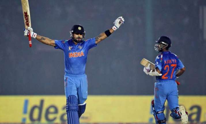 kohli s ton scripts india s victory over bangladesh