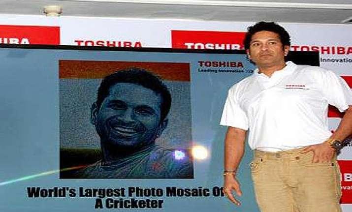 large digital photo mosaic of sachin tendulkar unveiled.