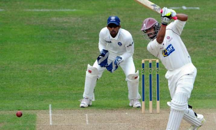 somerset pile up 329 for two as india struggle on first day
