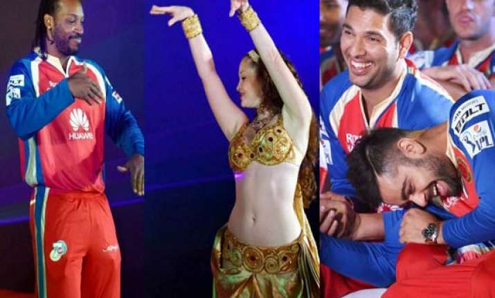 watch pics when rcb players practiced with belly dancers