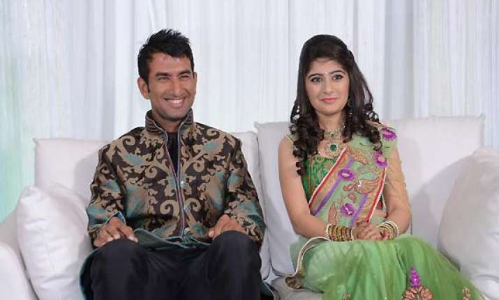 10 days after his engagement pujara strikes a maiden double