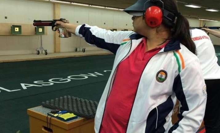 cwg 2014 malaika wins silver medal in shooting